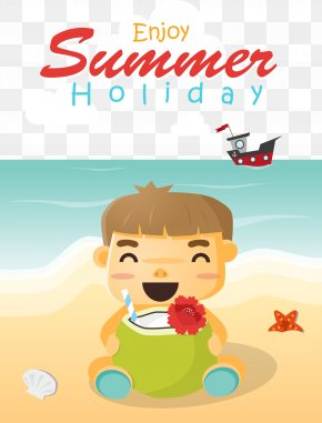 Happy Summer Child Creative - Vacation Beach Summer Illustration PNG