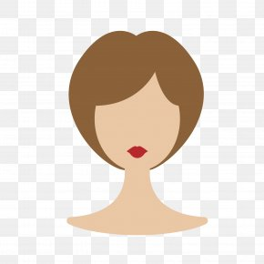 Brown Lady Short Hair Wig Model - Wig Designer Hair Euclidean Vector PNG