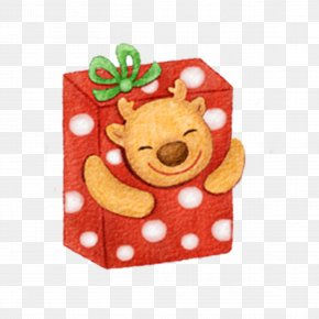 Christmas Gift In The Deer - Gift Christmas Box PNG