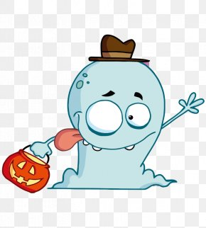Cartoon Painted Tongue Halloween Ghost - Trick-or-treating Halloween Monster Jack-o'-lantern Clip Art PNG