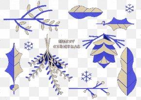 Blue Snowflake Foliage Elements - Snowflake Chemical Element Leaf PNG