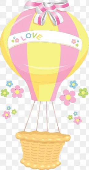 Love Hot Air Balloon Bow Material Free To Pull - Hot Air Balloon Clip Art PNG