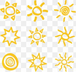9 Hand Painted Yellow Sun Icon Vector Material - Euclidean Vector Download Icon PNG