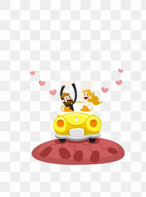 Vector Yellow Wedding Car On The Bride And Groom - Bride Download PNG