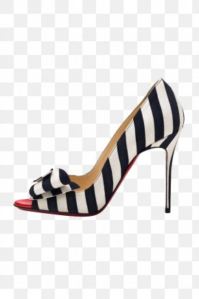 France Black And White Horizontal Stripe High Heels - Court Shoe High-heeled Footwear Fashion Ballet Flat PNG