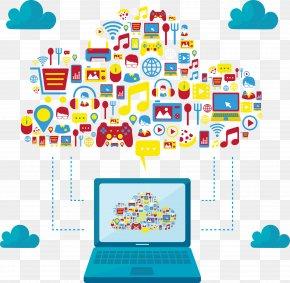 Vector Laptop With Cloud Services - Laptop Server Cloud Computing Clip Art PNG