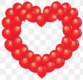 Transparent Red Heart Balloon Clipart - Balloon Heart Clip Art PNG