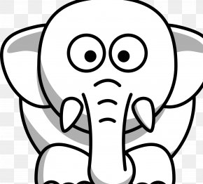 Elefant - Black And White Drawing Clip Art PNG