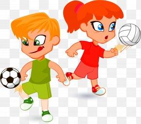 Summer Camp Kids Cartoon Ai Eps - Clip Art Child Illustration Football PNG