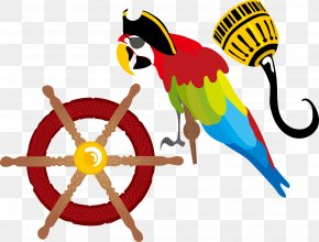 Vector Colored Parrot Ship Steering Wheel - Piracy Ships Wheel Porthole PNG