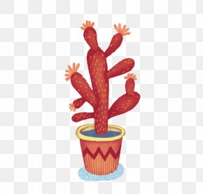 Red Cactus - Cactaceae Drawing Succulent Plant Watercolor Painting Illustration PNG