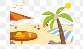 Summer Beach Background Vector Illustration - Graphic Design Euclidean Vector Illustration PNG