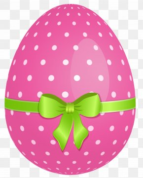 Pink Dotted Easter Egg With Green Bow Clipart - Easter Bunny Easter Egg Clip Art PNG