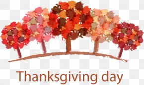 Thanksgiving Autumn Trees - Thanksgiving Dinner Greeting Card Thanksgiving Day Wish PNG