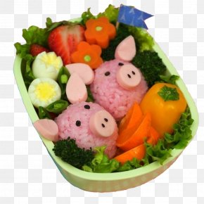 Pink Pig Eggs Fruit Dishes - Sushi Bento Japanese Cuisine Onigiri Lunch PNG
