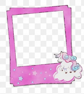 Picture Frame Pink - Watercolor Background Frame PNG