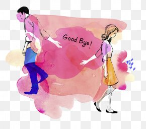Watercolor Illustration Parting Goodbye - Breakup Watercolor Painting Illustration PNG