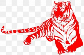 Red Paper-cut Tiger - Tiger Chinese Zodiac Rat Snake PNG