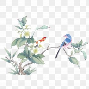 Birds And Flowers - Ink Wash Painting Gongbi Chinese Painting Bird-and-flower Painting PNG