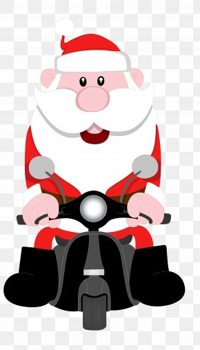 Santa Claus Riding A Motorcycle - Santa Claus Cartoon Motorcycle Illustration PNG
