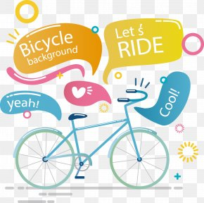 Vector Hand-drawn Cartoon Bicycle And Color Dialog Tag - Bicycle Wheel Drawing PNG