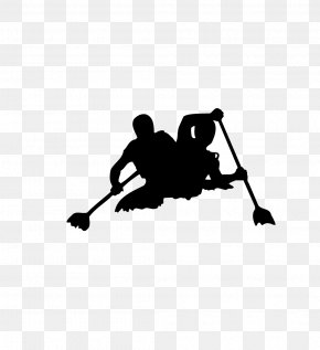 Rowing Silhouette - Rafting Kayaking Canoe Clip Art PNG