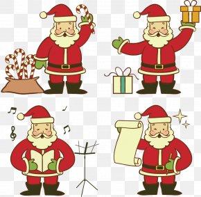 Vector Hand-drawn Cartoon Santa Claus - Santa Claus Christmas Ornament Clip Art PNG
