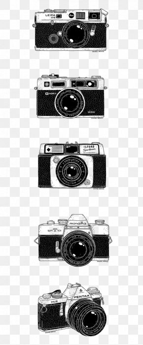 Camera - Camera Lens Drawing Photography Black And White PNG