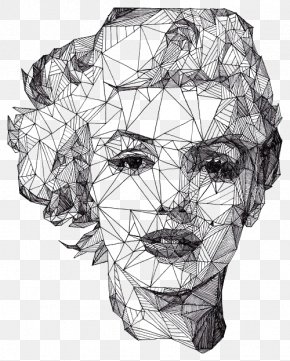 Diamond Woman's Face - Portrait Drawing Geometry Artist Illustration PNG