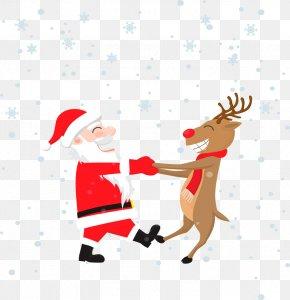 Vector Santa Claus With Elk - Rudolph Santa Claus Wedding Invitation Christmas Greeting Card PNG