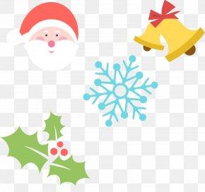 Hand-painted Santa Claus Cartoon Christmas Element Snowflakes - Santa Claus Christmas Tree Icon PNG