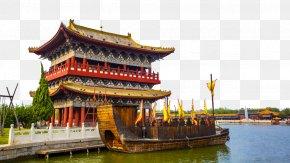 Qingming River Park Landscape - Along The River During The Qingming Festival PNG