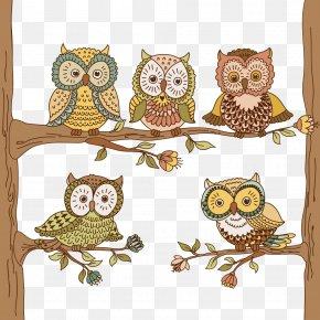 Owl Vector Tree Branch - Eulenmalbuch 1 Owl Meine Ersten Zahlen Malbuch 2 Motorcycle Coloring Book 1 PNG