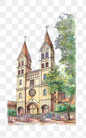 Qingdao Catholic Church Hand-painted Material - Europe Watercolor Painting Architecture PNG