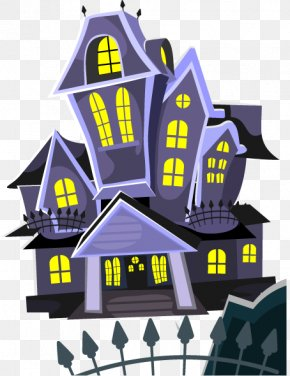 Halloween Cemetery Background Vector Elements Mansion - Halloween Haunted Attraction House Illustration PNG