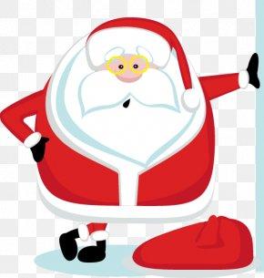 Cute Cartoon Santa Claus - Santa Claus Candy Cane Christmas Gift PNG
