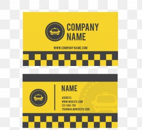 Yellow Checkered Cab Business Card - Taxi Driver Business Card Yellow Cab Taxi Driver PNG