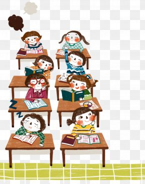 Cartoon Kids In Class - Student Learning Education Desire Lesson PNG