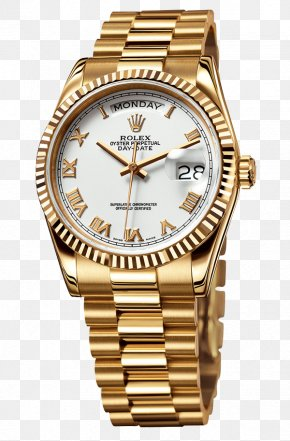 Rolex - Rolex Day-Date Watch Colored Gold PNG