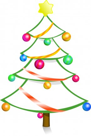 Christmas Tree Line Art - Christmas Tree Christmas Ornament Clip Art PNG