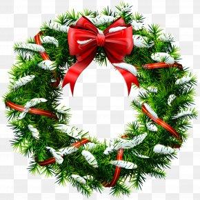 Christmas Wreath With Snow Clip Art - Wreath Christmas Garland Clip Art PNG