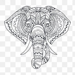 Style Black And White Line Drawing Of An Elephant Philippines - Wall Decal Elephant Drawing PNG