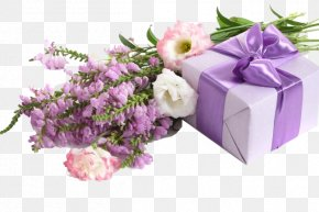 Purple Flowers And Boxes - Sibling-in-law Wish Greeting & Note Cards Wedding Anniversary PNG