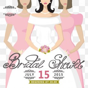 Cartoon Bride Wedding Invitation Poster Vector Material - Wedding Invitation Bride Bridal Shower PNG