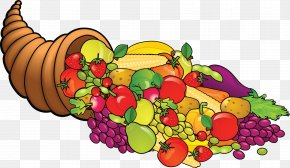 Small Cornucopia Cliparts - Thanksgiving Dinner Turkey Clip Art PNG