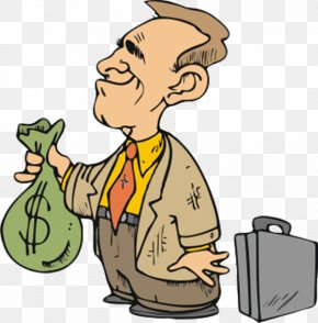 Cartoon Businessman Holding Money Bag - Money Bag Clip Art PNG