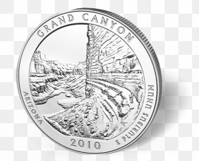Coin - Coin Grand Canyon National Park Silver Quarter United States Mint PNG