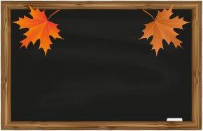 School Board With Autumn Leaves Clip Art - Blackboard School Clip Art PNG