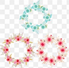 Blue Pink Decorative Garland - Pink Flower Blue PNG