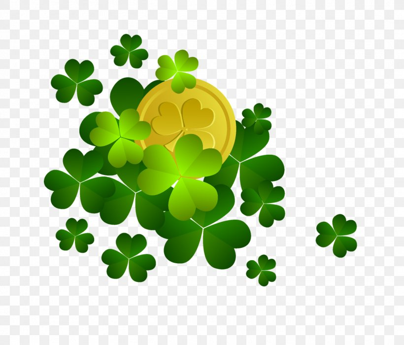 Shamrock Saint Patrick's Day Clip Art, PNG, 1344x1148px, Shamrock, Clover, Coin, Flowering Plant, Four Leaf Clover Download Free